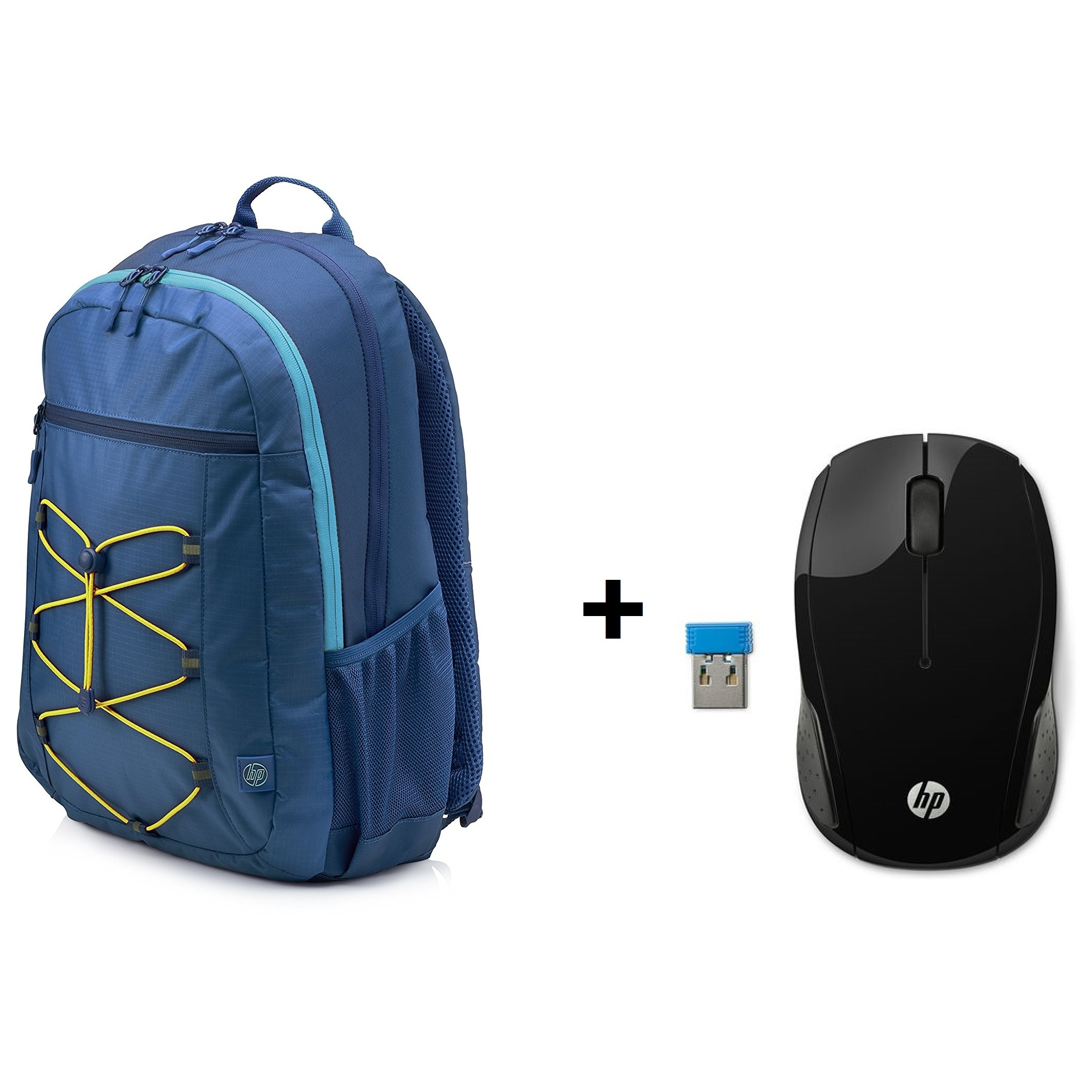 25d5d2b3c3ed0e HP 1LU24AA Active Backpack Blue/Yellow 15.6inch + X6W31AA 200 Wireless Mouse  Black