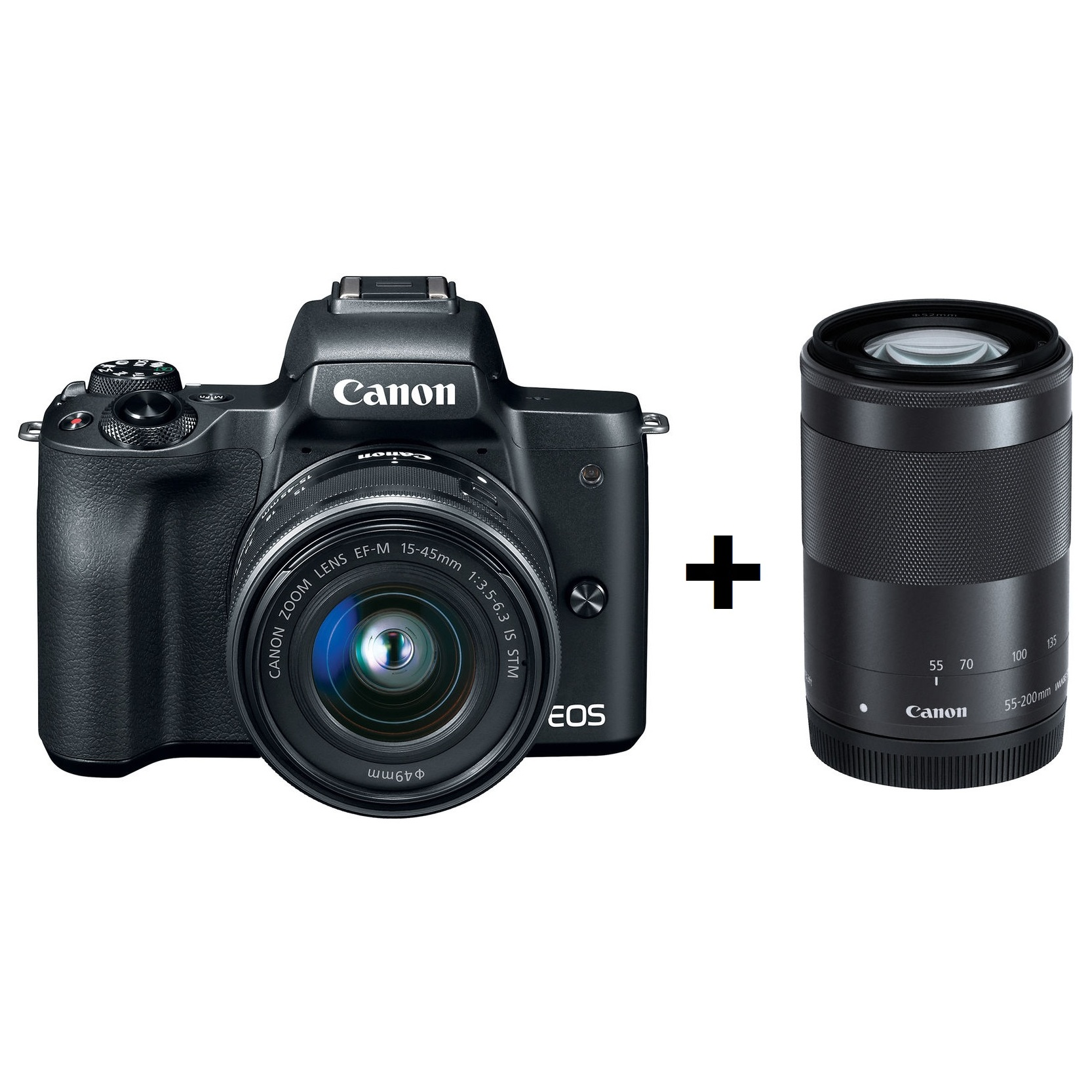 Canon Eos M10 Mirrorless Digital Camera Black With Efm 15 45mm Is Ef M Stm White M50 F 35 63 Lens 55 200mm 45